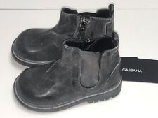 D&G New BOYS KIDS LEATHER ANKLE BOOTS SHOES Sz 20 Eur / 4 US RTL $365 LCEZTG O64