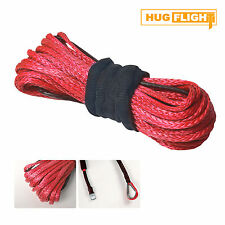 """3/16""""x 50' Synthetic Winch Line Cable Rope w/ Sheath 5700LBs for SUV ATV UTV Red"""