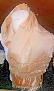 Mexican Rebozo golden Beige silk Texture Shawl Runner over size beautiful