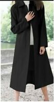 women's winter balmacaan black wool blend coat long jacket plus 18W 1X 2X 3X 4X
