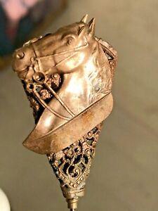 Lot 3 Antique Victorian Hat Pins~1 Horse Head Figure Equestrian~2 w/ Rhinestone