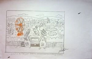 The Simpsons Production SIGNED CHRIS BOLDEN Hand Drawn STORYTIME VILLAGE