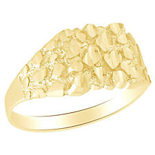 In 10K Solid Yellow Gold Nugget Style Men's Promise Ring