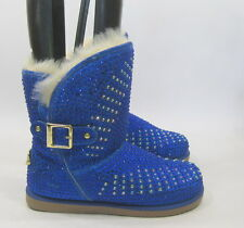 Urban Glitter Blue Rhinestones Winter Ankle Sexy Boot Size 7.5
