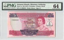 Solomon Islands Nd (1977) P-7a Pmg Choice Unc 64 10 Dollars *Fancy S/N 222*