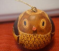 Gourde Christmas Tree Ornament Lucuma Peru Handmade - small owl   a-1