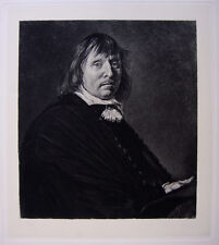 """Strong 1800s FRANS HALS Antique Detailed Etching """"Businessman Tyman Oosdorp"""" COA"""