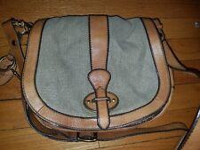 FOSSIL Reissue Brown Distressed Leather Canvas Saddle Bag Shoulder Bag Handbag