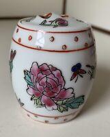 """Vintage Chinese Jingdezhen Porcelain Lidded Jar Flowers & Butterflies 2.5"""" Tall"""