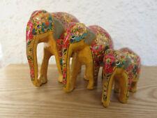 Mustard Floral Themed Kashmiri Papier Mache Elephants | Family of 3 | L, M & S