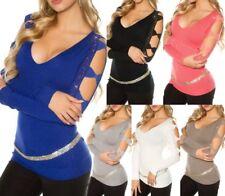 SeXy Miss Damen Long Pulli Pullover Feinstrick Schleifen Strass Top 34/36/38 Neu
