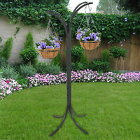 4 Basket Arm Plant Stand Hanging Holder Basket Patio Outdoor Flower Decor Garden