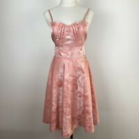 Review Womens Pink Fit & Flare Pintucked Bodice Sweetheart Dress Size 8 A8