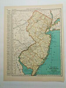1938 Vintage NEW JERSEY Authentic Antique Atlas Map - Collier's World Atlas