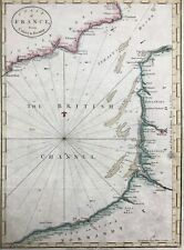 France Calais to Fécamp 1782 & Sussex Kent Channel by Cary antique coastal chart