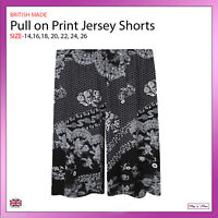 Ladies Black Print Palazzo Baggy Jersey Shorts Casual Standard & Plus Size 14-26