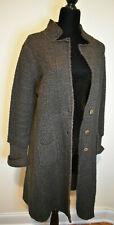 SITA MURT Long Knit Swing Coat Maroon Brown Wool Blend Size 42