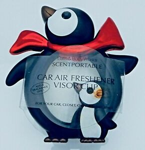 BATH & BODY WORKS SCENTPORTABLE TWO PENGUINS RED SCARF CAR VENT CLIP NEW