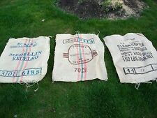 Lot of 3 Burlap Coffee Bean Bags~GunnySack/PotatoRace/Sandbag/Storage/Decorative