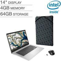 "HP Chromebook 14"" FHD Intel Celeron N4000 4GB RAM 64GB EMMC w/ Mouse and Sleeve"