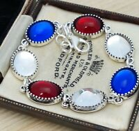 Vintage - Red White Blue Union Jack UK Flag Small Glass Oval Cabochon Bracelet