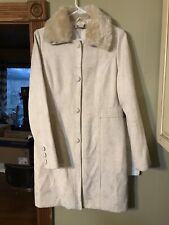 Size Large Cream dress coat women, Removable Fur Collar. Simply Gorgeous.