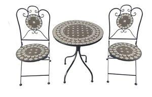 Bistro-Set Eisen Gartengruppe Sitzgruppe Stuhl Tisch Mosaik Klappbar MC4342