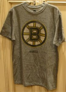 "Men's 19"" Small CCM NHL BOSTON BRUINS Hockey Short Sleeve Crew T Shirt Grey Mix"