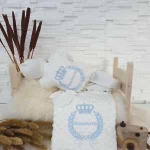 NEU! Baby Strampler Set Decke mit Namen bestickt Geschenk Grau Blau Jungen 50 56