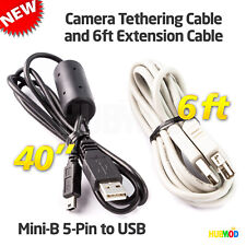 USB 2.0 to Mini-B 5-Pin Tether DATA Cable for Canon EOS 10D 20D 30D 40D Rebel XT