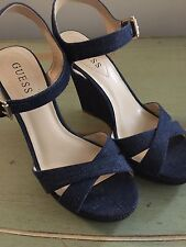 Woman shoes platform denim sandals 7.5 38 GUESS New