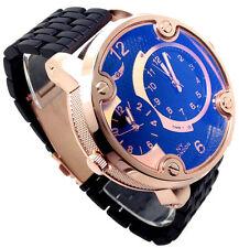 122b Mens New Sports Black Band Wrist Watch Rose Gold Case Big Chunky Multi Dial