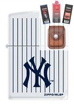 Zippo 0403 New York yankees logo Lighter + FUEL FLINT WICK POUCH GIFT SET