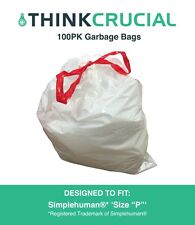 """Think Crucial 100PK Durable Garbage Bags Fit Simplehuman® 'size """"P""""' 60L / 13-16"""