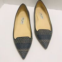 JIMMY CHOO SHOES~ATILLA WOVEN FLAT~ NAVY BLUE & MARBLE POINTED STYLE -SIZE 40.5