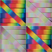 Double Sided Rainbow Pastel Satin Grosgrain Printed Ribbon - 5 or 10 metres