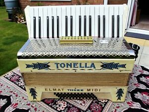 TONELLA, 48 BASS, 34 TREBLE KEY REEDED PIANO ACCORDION WITH NEW EMAT MIDI FITTED