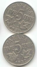 Canada 1931 1932 Five Cent Canadian Nickels Nickel Set 5c EXACT COINS