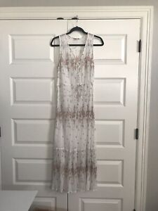 LUCKY BRAND White Peach Floral Tank Midi Dress Sleeveless Boho Womens Large