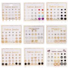 12Pairs Punk Crystal Pearl Round Men's Womens Ear Stud Earrings Set Jewellery