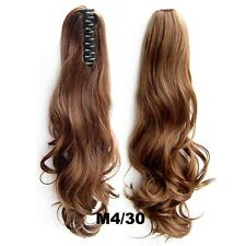 22 Inch Thick Claw Pony Tail Ponytail Clip In On Hair Extension Wavy Curly Style