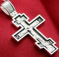 BIG RUSSIAN ORTHODOX ICON CROSS, SILVER 925. CRUCIFIX WITH PRAYER. BLESSED. 16g.