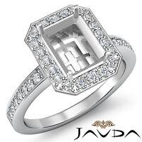 Halo Pave Diamond Engagement Ring 14k White Gold Emerald Shape Semi Mount 1Ct