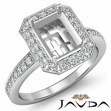 Halo Pave Diamond Engagement Ring 14k White Gold Emerald Shape Semi Mount 1Ct