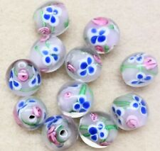 Handmade Lamp-work Beads ~16mm Diametre - 80gms Beads Pale Pink Base & Flowers