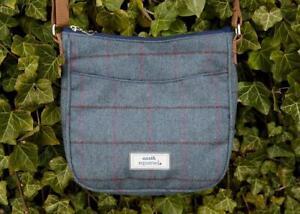 Earth Squared - Heritage Tweed - Caroline Crossbody Messenger Bag - Blue Steel