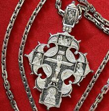 Large Mens Necklace Russian Orthodox Crucifix+Chrome Anchor Chain. Silver 925