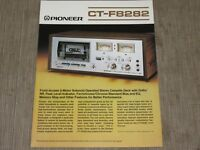 Pioneer CT-F8282 Stereo Cassette Tape Deck Original Catalogue  printed in Japan