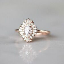 1.5ct Oval Cut VVS1/D Diamond Floral Engagement Ring 14k Rose Gold Finish