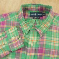 Ralph Lauren men's classic fit LARGE plaid checks madras cotton preppy pony logo